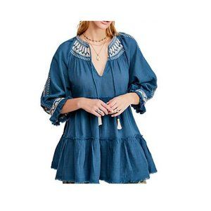 Free People $148 Dream Weaver Embroidered Tunic